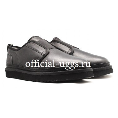 UGG AUSTRALIA SLIPPERS MEN'S FLEX LEATHER BLACK