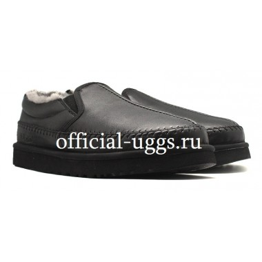 UGG AUSTRALIA SLIPPERS MEN'S STITCH SLIP LEATHER BLACK
