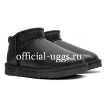 UGG MEN'S ULTRA MINI LEATHER BLACK