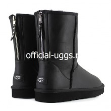 UGG MEN'S ZIP LEATHER BLACK