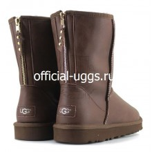 UGG MEN'S ZIP LEATHER CHOCOLATE