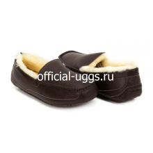 UGG MOCCASINS MEN'S ASCOT METALLIC CHOCOLATE